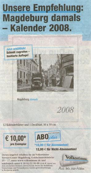 Kalender 2008 in der Volksstimme