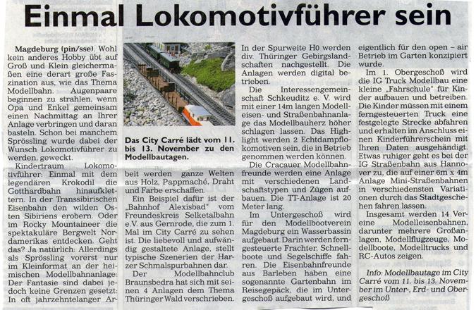 Modelleisenbahnausstellung am 12.11.2010 in Magdeburg im City-Carré