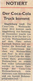 Coca-Cola-Truck 12.12.2012 Generalanzeiger